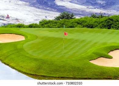 sand bunkers on the golf course,Mae Moh golf course, Lampang, Thailand.