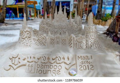 Sand Castle created on the famous white beach of Boracay Island Philippines