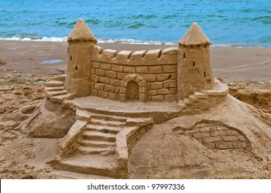 Sand Castle on the beach of lake Michigan