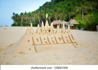 Sand castle on Boracay, Philippines