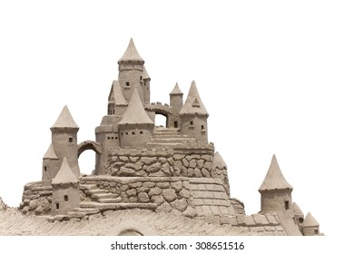 Sand Castle with white background. Copy space