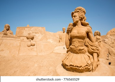 the Sand City or Sand Sculpture Festival FIESA at the Village of Pera at the Algarve of Portugal in Europe.    Portugal, Algarve, April, 2017