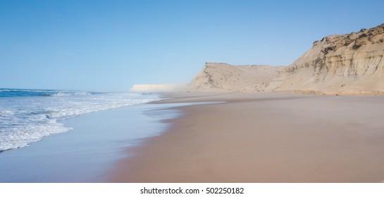sand cliffs at Dakhla in Western Sahara region of Morocco