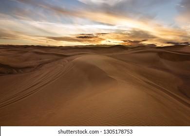 Sand desert sunset view, UAE