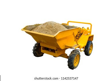 Sand dumper truck, Car front tipping bucket with pile of sand isolated on white with clipping path.