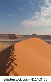 Sand Dune 45 in Sossusvlei, Namibia. Desert landscape. Take a walk into the sand dunes.