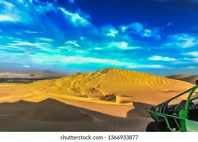 The sand dune desert near the oasis of Huacachina, Peru. A tourist adventure for dune buggy and sandboarding