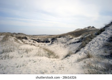 Sand dunes all over on Skallingen in Jutland, Denmark.