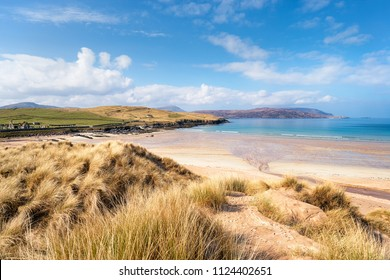Sand dunes at Balnakeil beach near Durness in Sutherland at the far north west of Scotland, with the ruins of the church in the fat left