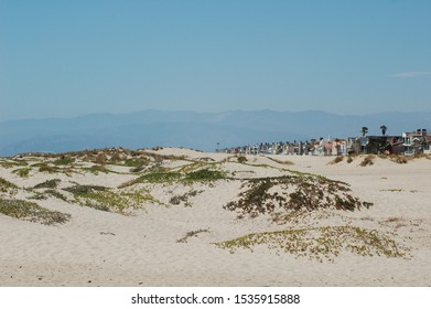Sand dunes, and Beach Houses at Silver Strand Beach Channel Islands California