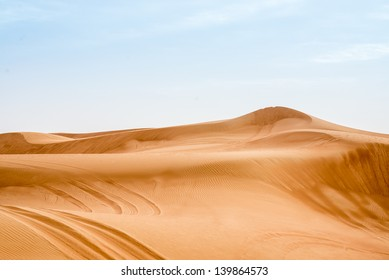 Sand dunes in the desert near Dubai