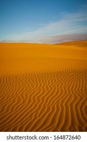 sand dunes in the desert of sahara in morocco