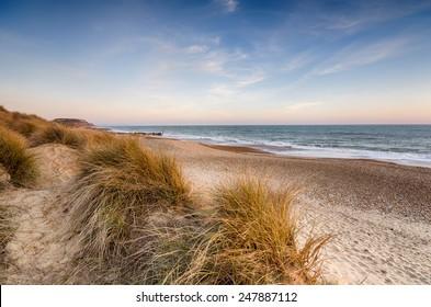 Sand dunes at Hengistbury Head beach near Christchurch in Dorset