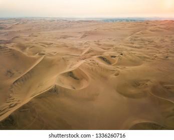 Sand dunes of Huacachina Peru aerial panorama