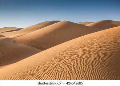 Sand dunes in Liwa desert, in Abu  Dhabi, UAE, at sunrise