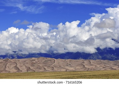 Sand Dunes and mountain peaks, Rocky Mountains, Southwestern USA