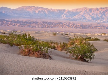 Sand Dunes And Mountains in sunset, Death Valley National Park, California, USA