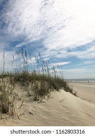 Sand dunes with ocean in background.