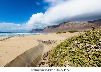 Sand dunes on the beach Famara.  Lanzarote. Canary Islands. Spain