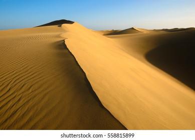 Sand dunes on the beach of Maspalomas, Gran Canaria, Spain