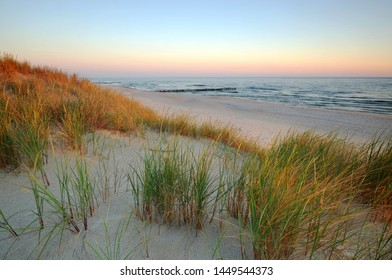 Sand dunes on the coast of the Baltic Sea at sunrise.