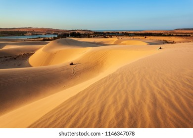 Sand dunes on sunset near Mui Ne or Phan Thiet city in Vietnam
