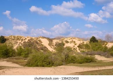 Sand dunes of Oostduinkerke on Belgian coast near De Panne and Koksijde and Nieuwpoort. Large sand dunes with green vegetaion and blue clouds during summer time. Oostduinkerke, Flanders, Belgium.