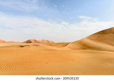 Sand dunes in Rub al-Khali desert, Dhofar region (Oman)