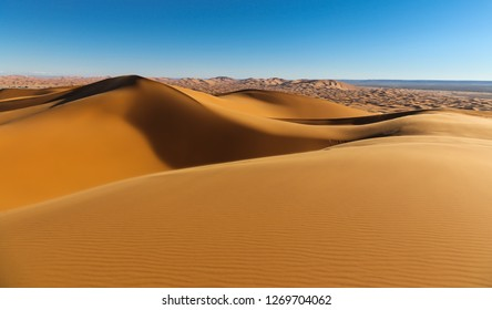 Sand dunes in the Sahara desert. Merzuga, Morocco