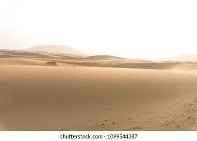 Sand Dunes at sunset in Sahara Desert, Merzouga, Morocco