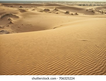 Sand dunes and tent camp in the Sahara desert in Morocco