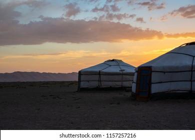 sand dunes and yurt in gobi desert in Mongolia
