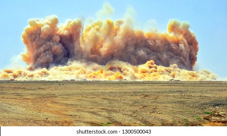 Sand dust clouds after the blast on the site in the middle east