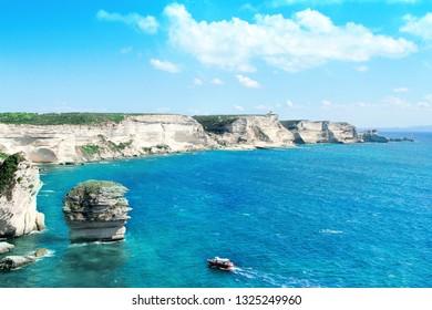 sand grain  limestone in Bonifacio - PicturesqueCapital of Corsica, France