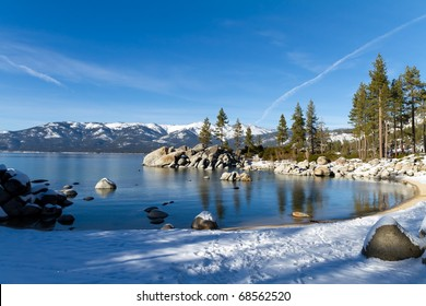 sand harbor during winter, lake tahoe usa