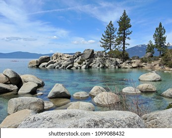 Sand Harbor offers hiking trails and scenic overlooks where photographers and hikers can take in the splendor of boulder studded turquoise water and regal pine trees against a backdrop of mountains.