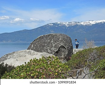 Sand Harbor offers hiking trails and scenic overlooks where photographers and hikers can take in the splendor of boulder studded turquoise water and  the Sierra Mountains.