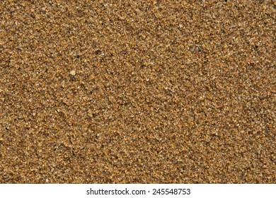 Sand on beach. Closeup. Sandy beach background. Detailed sand texture. Top view.