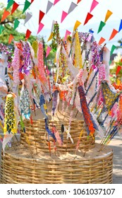 """Sand pagoda decorated by northern Thai paper flag or """"Tung"""" build for celebration Thai New Year or Songkran festival at Chiang Mai, Thailand."""