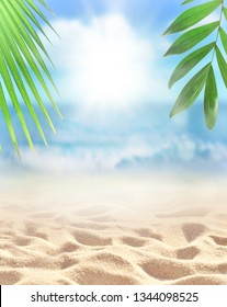 Sand with Palm and tropical beach bokeh background, Summer vacation and travel concept. Copy space.