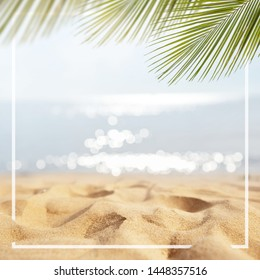 Sand with Palm and tropical beach and sea background with frame design for creative advertising Summer vacation and travel concept. Copy space.