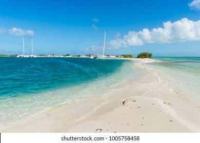 Sand passage between the waters in Pirate Cay, in Los Roques archipelago