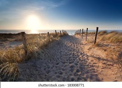sand path to North sea beach, Zandvoort aan Zee, North Holland, Netherlands