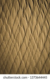 sand pattern texture on the beach in cold weather at the Baltic sea - vintage retro look