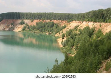 Sand pit with lake landscape