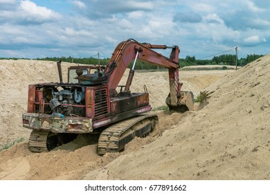 Sand quarry sand pit digger summer light