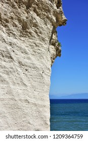 sand rock and blue sea and sky,Calabria in Tropea village,Italy