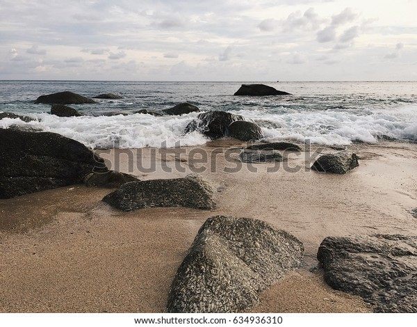 Sand and rock on the beach