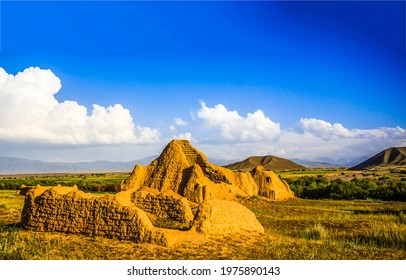 Sand ruins in a mountain valley. Sand ruins in Kazakhstan. Kazakhstan sand ruins in mountain valley - Shutterstock ID 1975890143