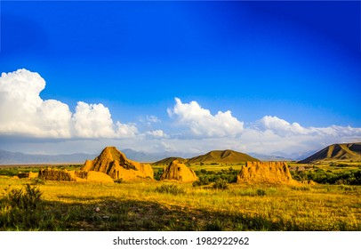 Sand ruins in the valley. Ruins in mountain valley. Mountain valley sand ruins - Shutterstock ID 1982922962